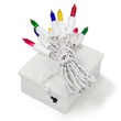 10 Multicolor Battery Operated Mini Christmas Lights, White Wire