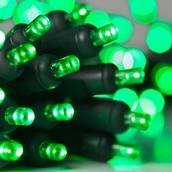 20 Green Battery Operated 5mm LED Christmas Lights, Green Wire