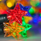 20 Multicolor Battery Operated Star LED Lights, Green Wire