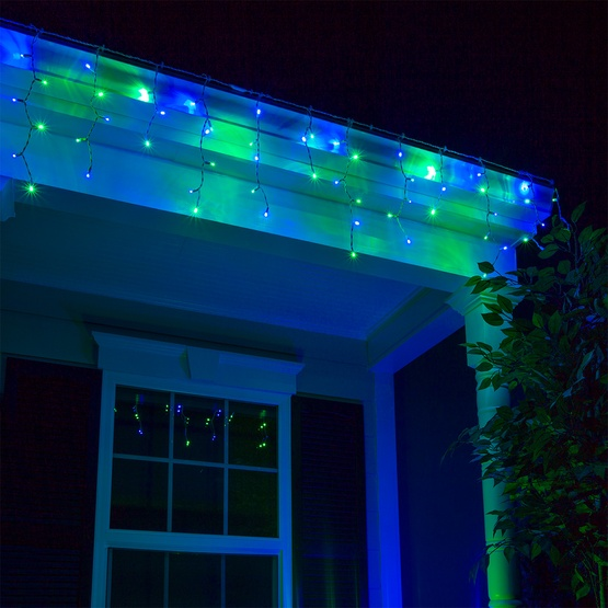 Led christmas lights mm blue green icicle