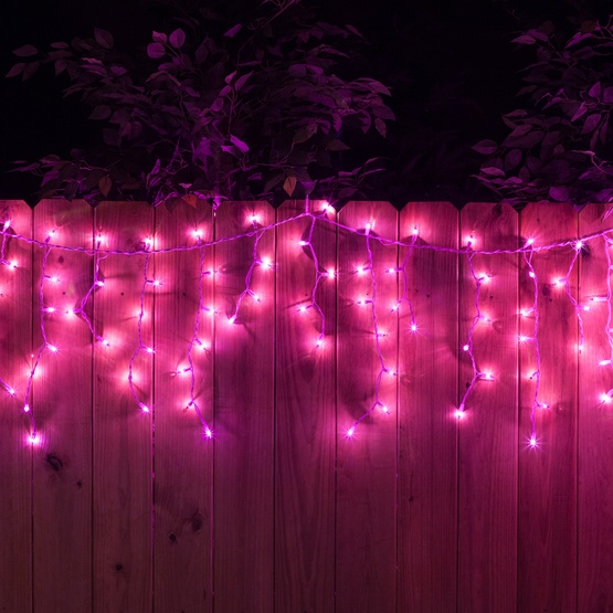 Christmas Icicle Light 150 Purple Icicle Lights White Wire