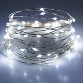 30 Cool White Battery Operated LED Fairy Lights, Silver Wire
