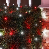4' x 6' LED Net Lights - 100 Red, Cool White Lamps - Green Wire