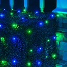 4' x 6' LED Net Lights - 100 Blue, Green Lamps - Green Wire