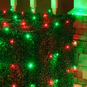 4' x 6' LED Net Lights - 100 Red, Green Lamps - Green Wire
