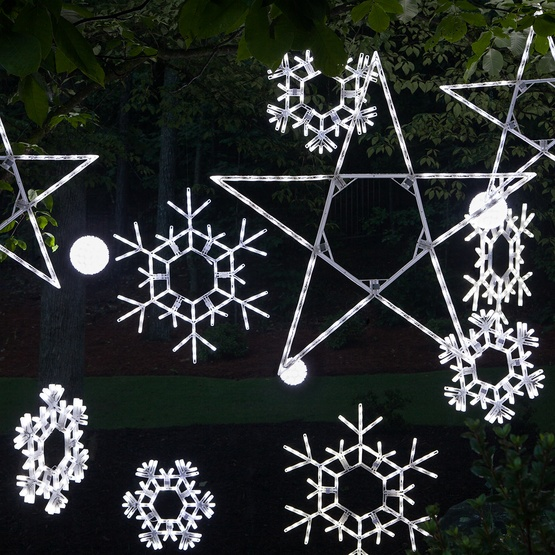 "36"" LED Folding Twinkle Snowflake Decoration, 105 Cool White Twinkle Lights"