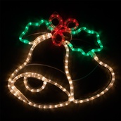 """20"""" LED Christmas Bells with Holly"""