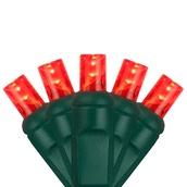 "70 5mm Red LED Christmas Lights, 4"" Spacing"