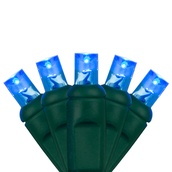 "70 5mm Blue LED Christmas Lights, 4"" Spacing"