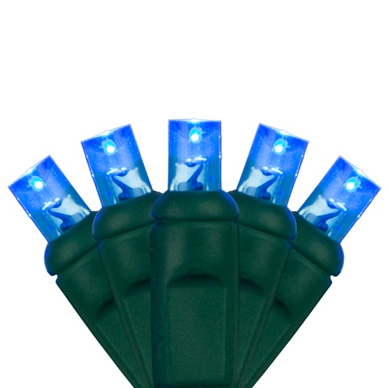 "70 5mm Blue LED Christmas Lights, 4"" Spacing"