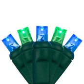 "70 5mm Blue, Green LED Christmas Lights, 4"" Spacing"