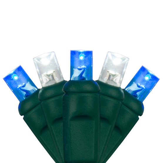"70 5mm Blue, Cool White LED Christmas Lights, 4"" Spacing"