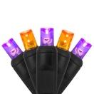 "70 5mm Purple, Orange LED Christmas Lights, 4"" Spacing, Black Wire"