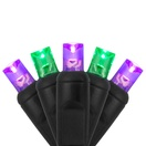 "70 5mm Purple, Green LED Christmas Lights, 4"" Spacing, Black Wire"
