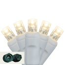 "Commercial 25 5mm Warm White LED Christmas Lights, 4"" Spacing, White Wire"