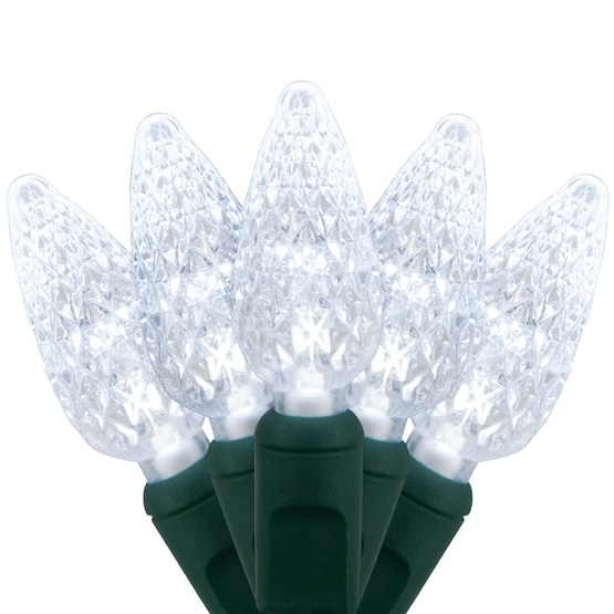 "70 C6 Cool White LED String Lights, 4"" Spacing"