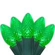 """25 C7 Green LED Christmas Lights, 8"""" Spacing"""