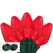 "Commercial 25 C7 Red LED Christmas Lights, 6"" Spacing"