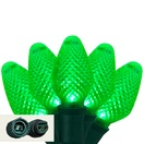 "Commercial 25 C7 Green LED Christmas Lights, 6"" Spacing"