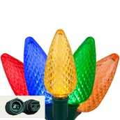 "Commercial 25 Multi Color C9 LED Christmas Lights, 12"" Spacing"