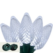 "Commercial 25 Cool White C9 LED Christmas Lights, 12"" Spacing"