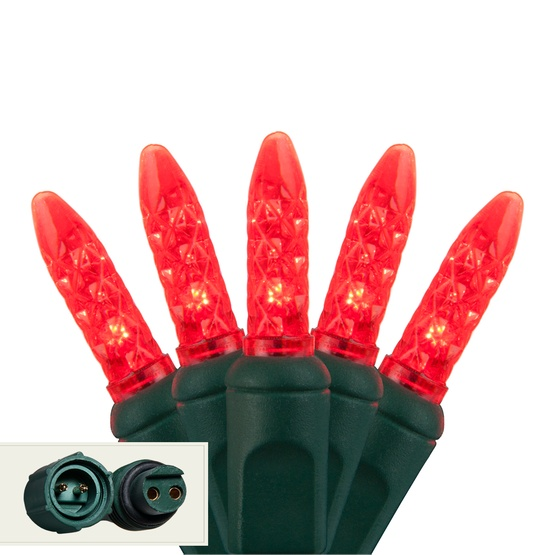 "Commercial 25 M5 Red LED Christmas Lights, 4"" Spacing"