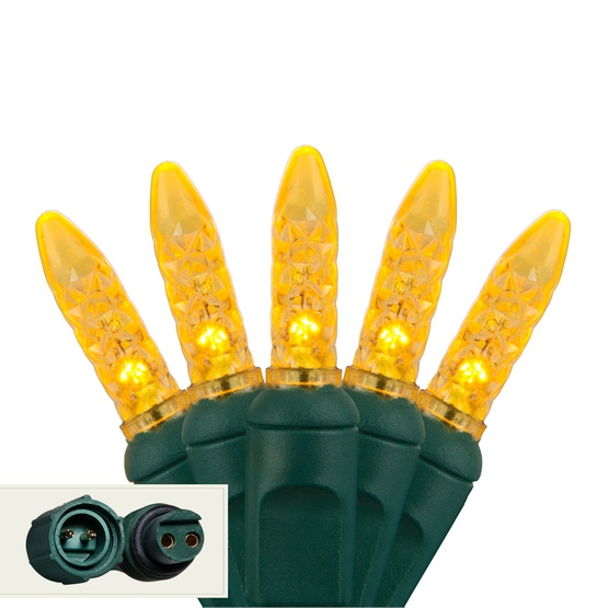 "Commercial 25 M5 Gold LED Christmas Lights, 4"" Spacing"