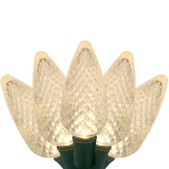 """25 C9 Warm White LED Christmas Lights, 8"""" Spacing"""