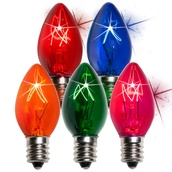 C7 Twinkle Multicolor Christmas Light Bulbs, 7 Watt