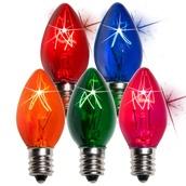 C7 Twinkle Multicolor Christmas Light Bulbs, 7 Watt