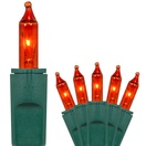 "50 PureLock Amber / Orange Christmas Lights, 6"" Spacing, Green Wire"