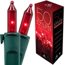 "50 Viviluxe Red Christmas Mini Lights, 5.5"" Spacing, Green Wire"