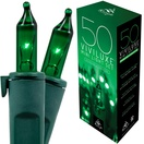 "50 Viviluxe Green Christmas Mini Lights, 5.5"" Spacing, Green Wire"