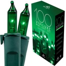 "100 Viviluxe Green Christmas Mini Lights, 5.5"" Spacing, Green Wire"