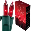 "100 Viviluxe Red Christmas Mini Lights, 5.5"" Spacing, Green Wire"