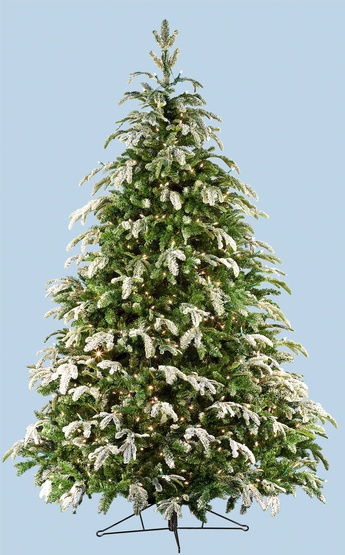 9' Full Fraser Fir Tree, Flocked, 1550 Clear Lamps