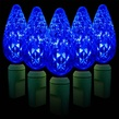 "70 C6 Blue LED String Lights, 4"" Spacing"