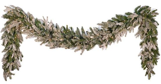 Flocked Fraser Fir Prelit Christmas Garland, Clear Lights