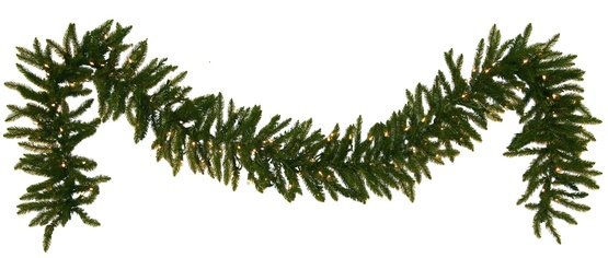 Norway Spruce Prelit Christmas Garland, Clear Lights