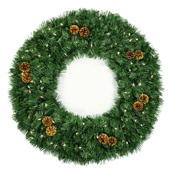Winchester Fir Prelit Christmas Wreath, Clear Lights