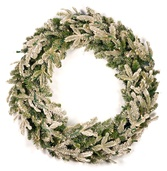 Flocked Fraser Fir Prelit Christmas Wreath, Clear Lights