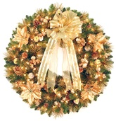 Harvest Gold Deluxe Prelit Christmas Wreath, Clear Lights