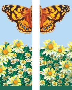 "Butterfly and Daisies Light Pole Banner 30"" x 84"""