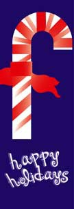 """Candy Cane Happy Holidays Light Pole Banner 30"""" x 94"""""""