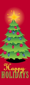 "Christmas Tree Light Pole Banner 17"" x 44"""