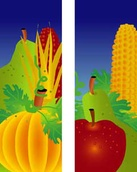 "Fall Corn and Pumpkin Light Pole Banner 30"" x 96"""