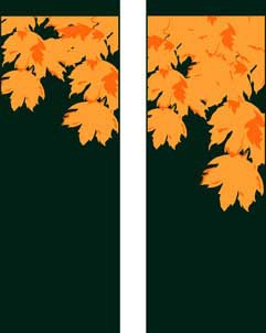 "Fall Leaves on Green Fabric Light Pole Banner 30"" x 84"""