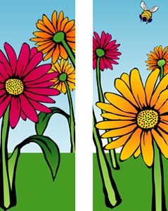 "Gerber Daisies Light Pole Banner 30"" x 94"""