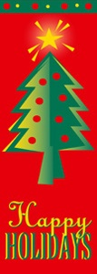 "Happy Holidays Tree Light Pole Banner 30"" x 84"""