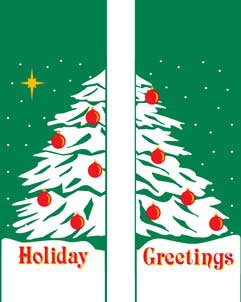 "Double Holiday Tree Light Pole Banner 30"" x 84"""